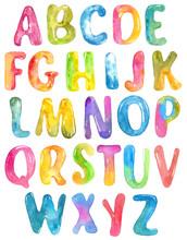 ABC, Alphabet Watercolor Letters Over White