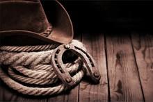 Old Horseshoe , Lariat Lasso And Cowboy