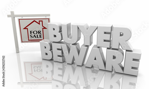 Buyer Beware Warning Home House for Sale Sign 3d Illustration Canvas Print