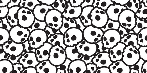 Skull seamless Halloween vector pattern Ghost head bone scarf isolated tile background repeat wallpaper