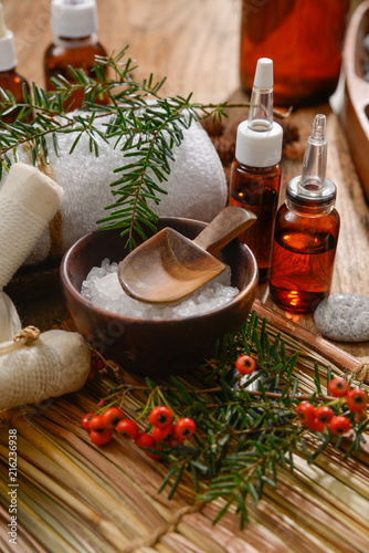 Poster Spa Composition of bath spa treatment on straw mat ,board