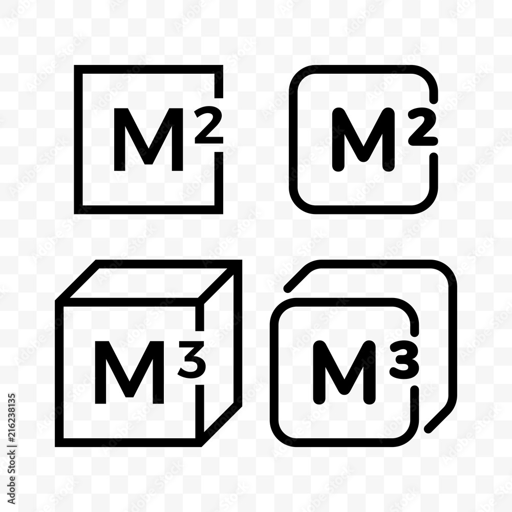 Fototapeta Square and cubic meters vector line icons