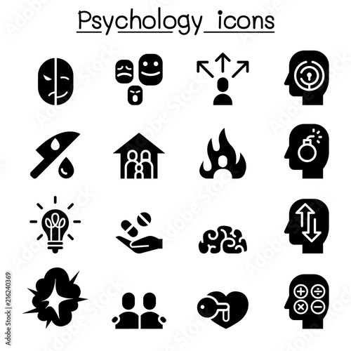 Psychology icon set Wallpaper Mural