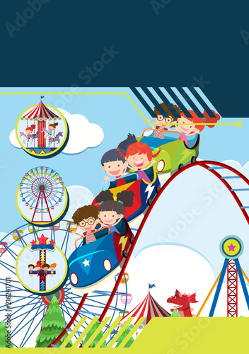 Poster Oiseaux, Abeilles Children at theme park template
