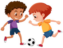 Boys Playing Football On White Background