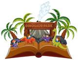 Fototapeta Dinusie - A pop up book dinosaur theme