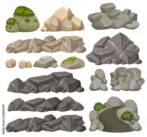 Set of different rocks - fototapety na wymiar