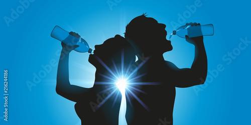 Obraz soif - bouteille d'eau - sportif - chaleur - canicule - eau - boire - footing - fitness - boire à la bouteille - fototapety do salonu