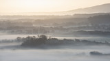 Stunning foggy English rural landscape at sunrise in Winter with layers rolling through the fields - 216246122