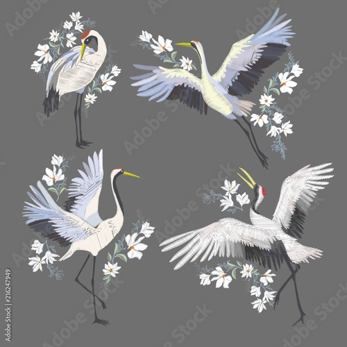 Embroidery with crane bird. Fashion decoration. Wallpaper Mural