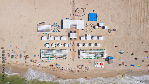 Foto op Plexiglas Luchtfoto Chernomosk, Ukraine - June 30, 2018: Aerial view from the air on the luxury bungalow on the beach