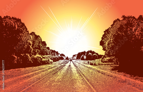 Fotobehang Bruin Country road and bright sun ahead. Vector graphic illustration of a summer landscape with leafy trees and sunlight.