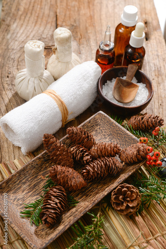 Poster Spa Christmas spa with Composition of treatment and wooden background
