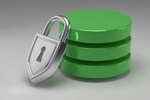 Three Green Disks In Stack And Locked Steel Padlock. Data Or Database Under Protection. Concept Of Data Security