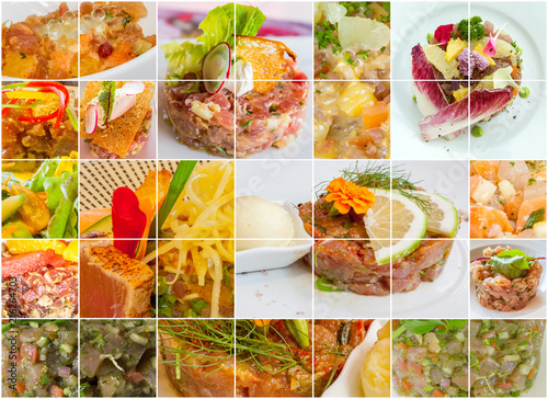 Poster Confiserie planche de tartares de poisson, gastronomie française