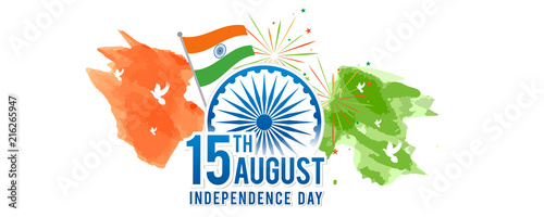 Valokuva August 15th, Indian Independence Day banner Vector illustration