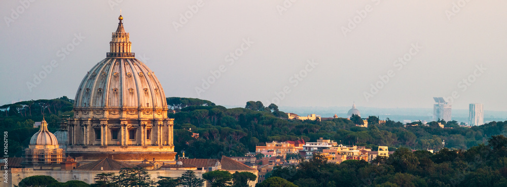 Fototapety, obrazy: Panorama Of Rome St. Peter's Basilica and Green Landscape