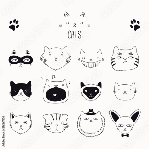 Fotografia, Obraz Set of cute funny black and white doodles of different cats faces