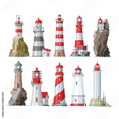 Lighthouse vector beacon lighter beaming path of lighting to ses from seaside coast illustration set of lighthouses isolated on white background Wall mural