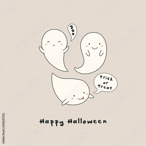 Printed kitchen splashbacks Illustrations Hand drawn vector illustration of a kawaii funny ghosts, with text Happy Halloween, Boo, Trick or treat in speech bubbles. Isolated objects. Line drawing. Design concept for print, card, invitation.
