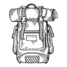 Tourist Backpack Engraving Vector Illustration