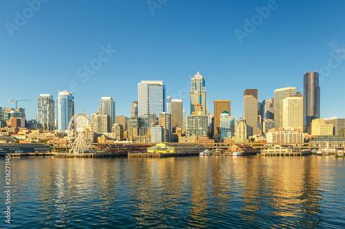 Seattle skyline and waterfront view, Washington state, USA фототапет