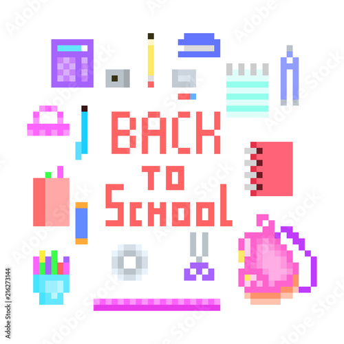 Old School Pixel Art Back To School Print With Lettering And