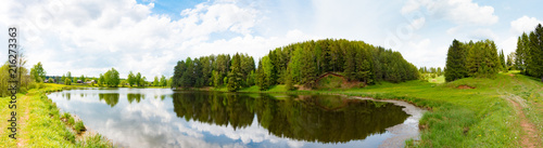 Cadres-photo bureau Riviere Panorama of summer landscape on the lake , Russia