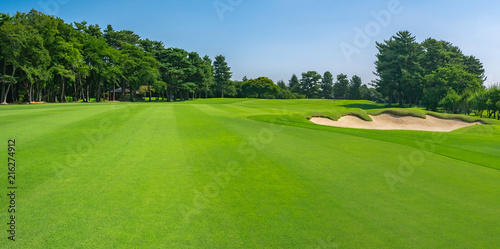 Panorama view of Golf Course with fairway field in Chiba Prefecture, Japan. Golf course with a rich green turf beautiful scenery.