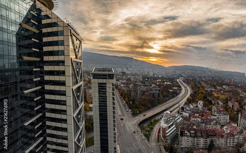 Valokuva  Sofia, Bulgaria - 11 November 2017: Beautiful panoramic view over Sofia