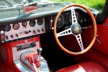 Classic British Sports Car Interior Cockpit.