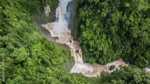 Aerial view beautiful natural scenery of forest and waterfalls in Southeast Asia, tropical green forest background Wallpaper Mural