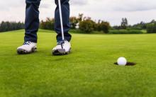 Golf Ball Falling Down At Hole...