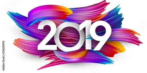 Fotografía  2019 new year festive background with colorful brush strokes.