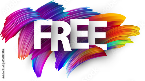 Free paper poster with colorful brush strokes.