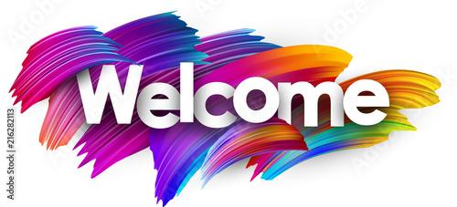 Fototapeta Welcome paper poster with colorful brush strokes. obraz na płótnie