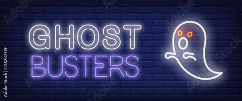 Fotografie, Obraz Ghost busters neon style banner