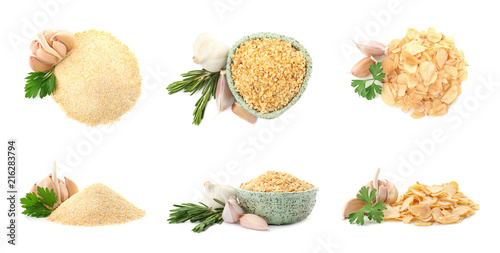 Set with dried aromatic garlic on white background