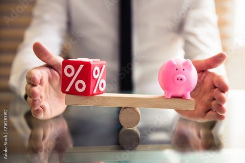 Poster Hoogte schaal Hand Protecting Balance Between Percentage And Piggybank