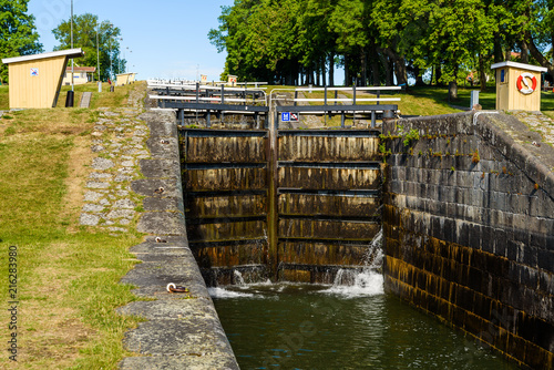 Fotobehang Kanaal Canal locks on Gota canal at Berg, Sweden.