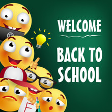 Welcome Back To School Lettering With Smiling Emojies. Offer Or Sale Advertising Design. Typed Text, Calligraphy. For Leaflets, Brochures, Invitations, Posters Or Banners.