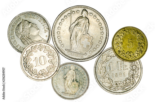 Fotografia, Obraz Different Swiss franc coins.