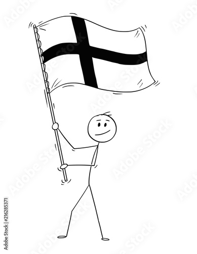 Valokuva Cartoon drawing conceptual illustration of man waving the flag of Republic of Finland