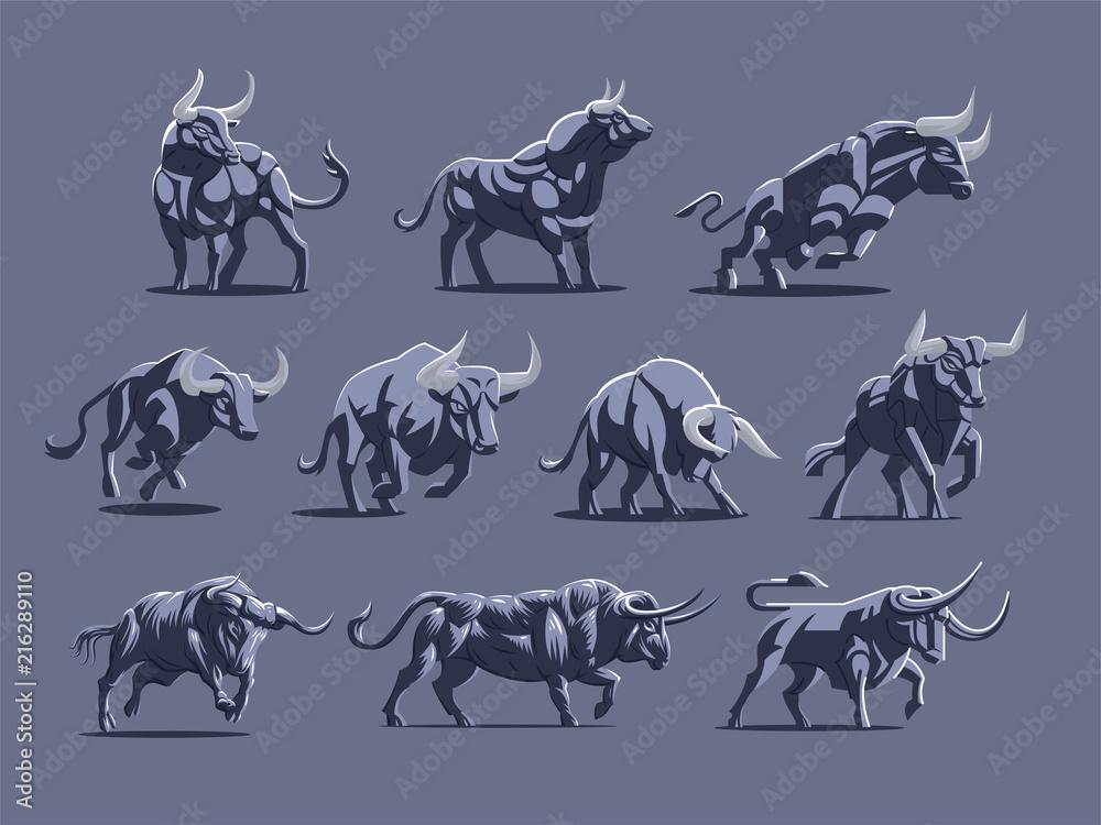 Fototapeta Set of bulls and buffalo in different poses.
