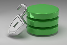 Three Green Disks In Stack And Unlocked Steel Padlock. Access Granted To Data Or Database. Concept Of Data Security