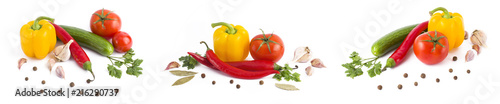 Poster de jardin Légumes frais Panoramic view of red tomatoes, yellow pepper and bitter pepper on white background. A composition of multi-colored vegetables on a white background. Red bitter pepper with tomato and green cucumber o