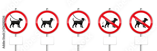 Fotomural Dogs mandatory signs with blank panels - no dogs allowed, dogs on leash, wearing muzzles, dog dirt
