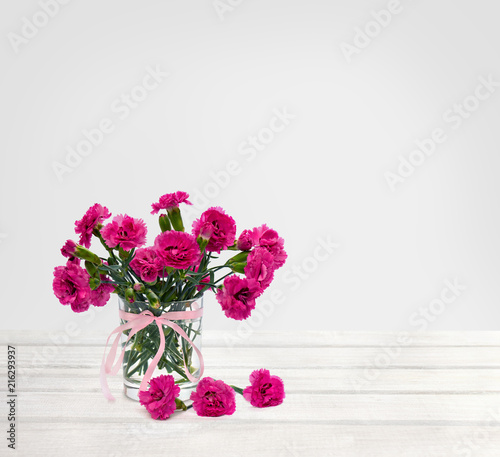 Bouquet Of Flowers Pink Carnations Dianthus Caryophyllus In