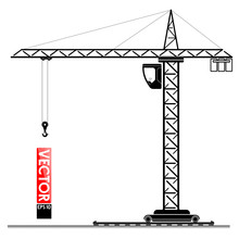 High Tower Crane At The Construction Site. Lifting Loads Up. The Building Of A High-rise Building.