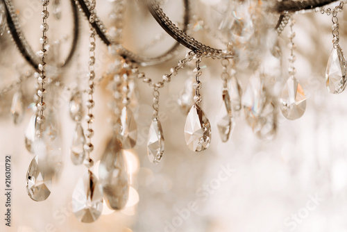 Crystal chandelier close-up. Glamour background with copy space Canvas Print